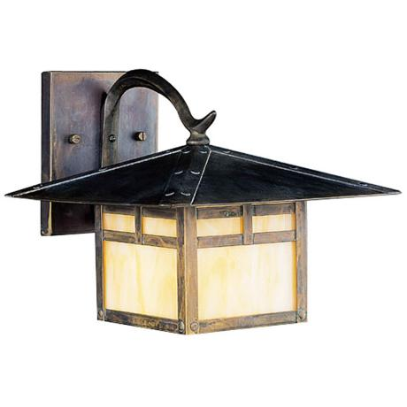 "La Mesa Honey Opalescent  8 1/2"" High Outdoor Wall Light"
