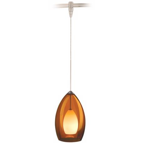 Fire Satin Nickel Amber Glass Tech Lighting MonoRail Pendant
