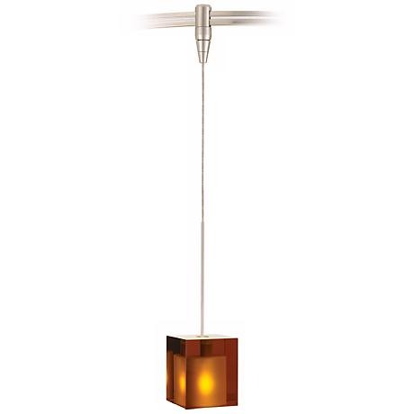 Cube Satin Nickel Amber Glass Tech Lighting MonoRail Pendant