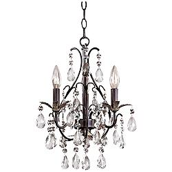 Castlewood Walnut Silver Finish 3-Light Mini Chandelier
