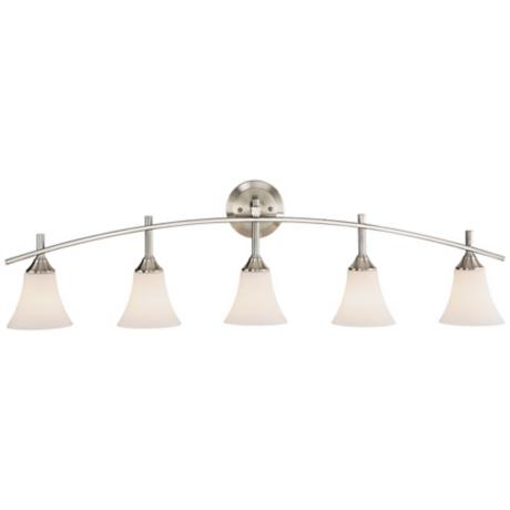 "Curve Brushed Steel 42 1/2"" Wide Bathroom Light Fixture"
