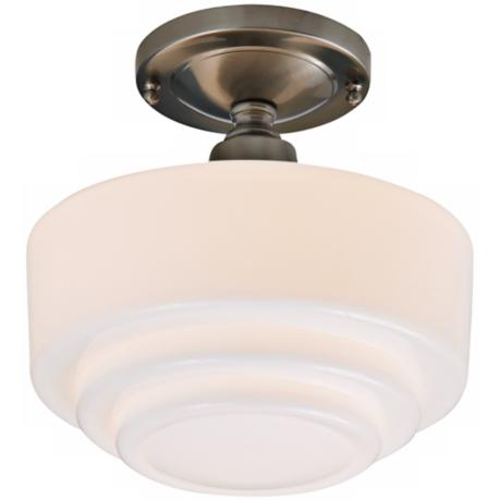 "Schoolhouse Step 9 1/2"" Wide Brushed Nickel Ceiling Light"