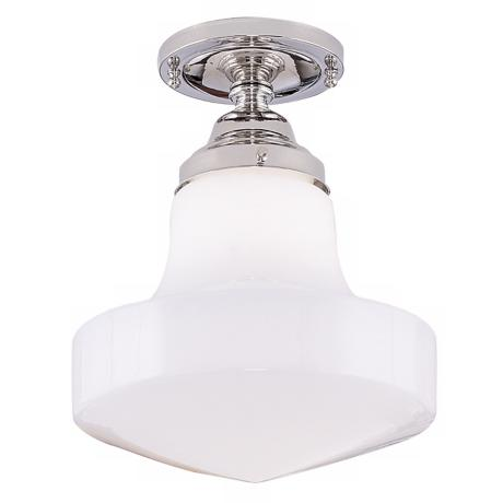 "Schoolhouse Mushroom Glass 10"" Wide Ceiling Light"