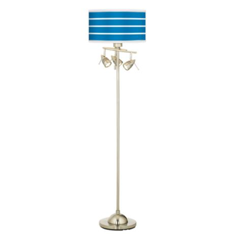 Bold Blue Stripe Giclee 4 Light Floor Lamp