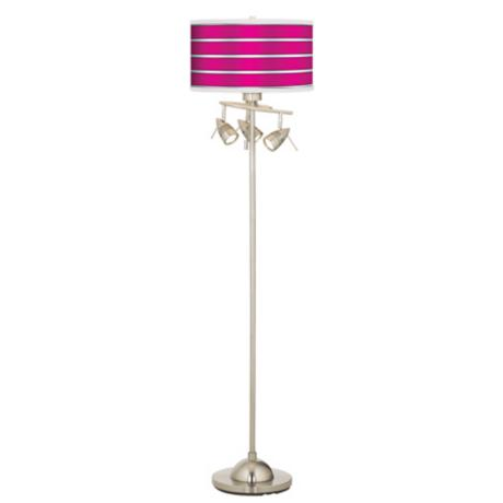 Bold Pink Stripe Giclee 4 Light Floor Lamp