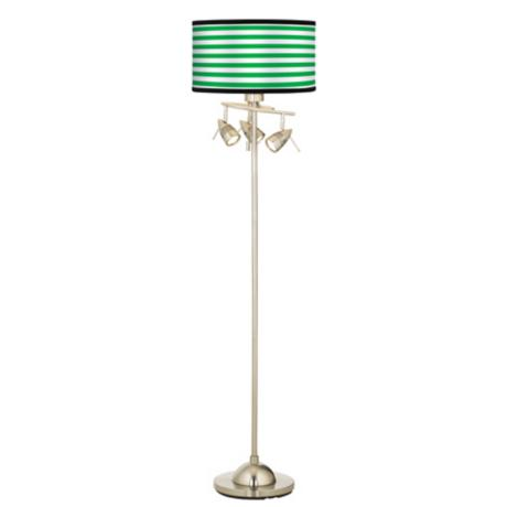 Green Horizontal Stripe Giclee 4 Light Floor Lamp