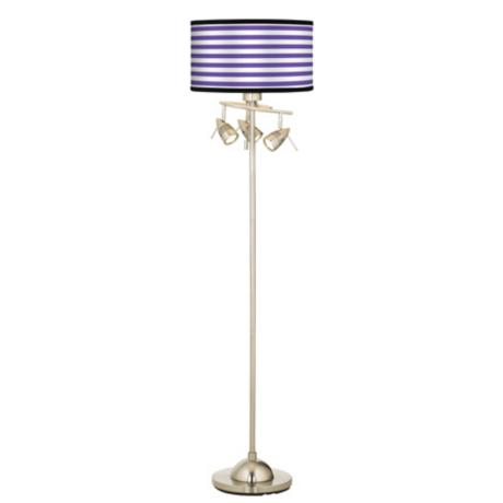 Purple Horizontal Stripe Giclee 4 Light Floor Lamp