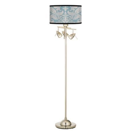 Ivory/Blue Tapestry Giclee 4 Light Floor Lamp