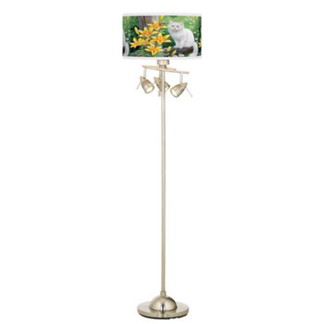 Cat and Butterfly Giclee Brushed Steel Floor Lamp