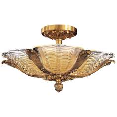 "Metropolitan French Gold 27"" Wide Semiflush Ceiling Light"