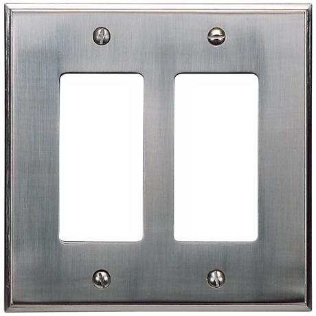 Sutton Brushed Nickel Finish Double Rocker Wall Plate