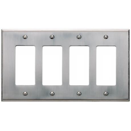 Sutton Brushed Nickel Finish Quad Rocker Wall Plate