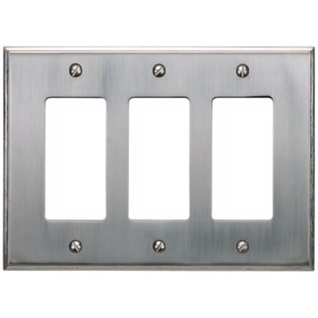 Sutton Brushed Nickel Finish Triple Rocker Wall Plate