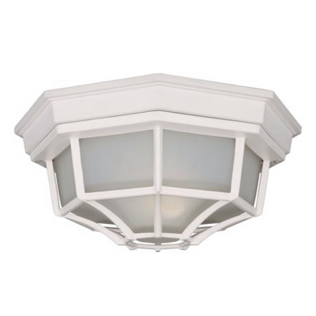 "White Finish 11 1/4"" Wide Outdoor Ceiling Light Fixture"