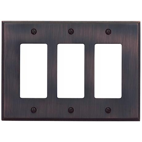 Sutton Venetian Bronze Finish Triple Rocker Wall Plate