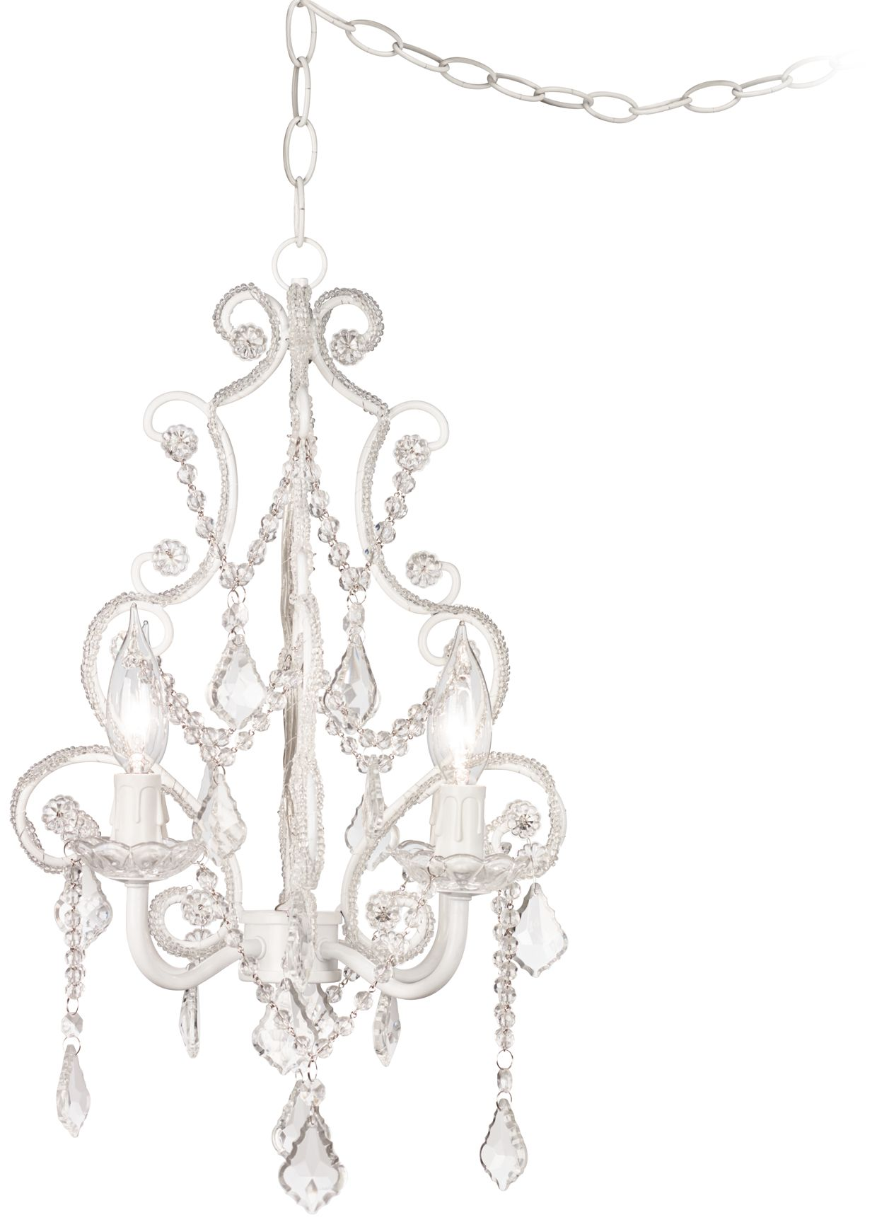 leila white clear swag plugin chandelier