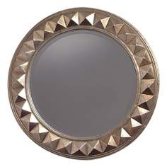 "Fifth Avenue Round Pyramid Trim 32"" Wide Wall Mirror"