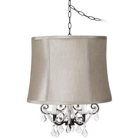 Leila Black Designer Taupe Shade Plug-In Swag Chandelier