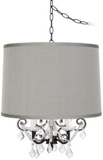 Leila Black Designer Gray Shade Plug-In Swag Chandelier (85093-97486-Y0621) 85093-97486-Y0621
