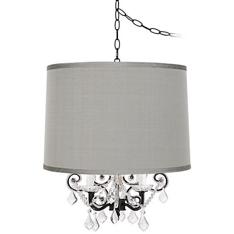 Leila Black Designer Gray Shade Plug-In Swag Chandelier