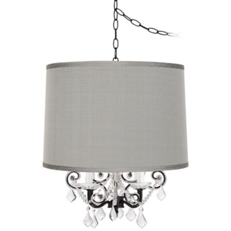 Leila Black Designer Grey Shade Plug-In Swag Chandelier