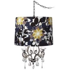 Leila Black Abstract Designer Shade Plug-In Chandelier