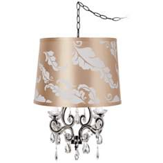Leila Black Designer Print Shade Plug-In Swag Chandelier