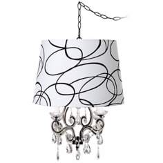 Leila Black Squiggle Designer Shade Plug-In Chandelier