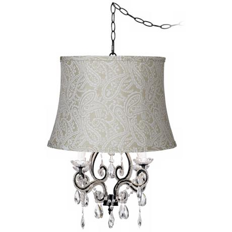 Leila Black Paisley Designer Shade Plug-In Chandelier