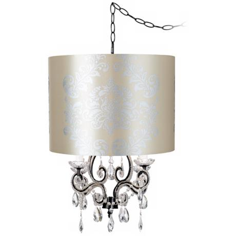 Leila Black Graphic Designer Shade Swag Chandelier