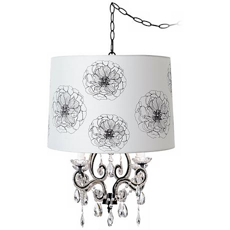 Leila Black Designer Flower Shade Plug-In Swag Chandelier