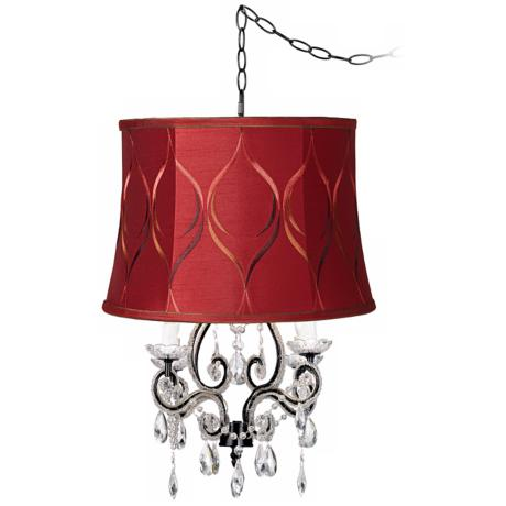 Leila Black Merlot Designer Shade Plug-In Swag Chandelier