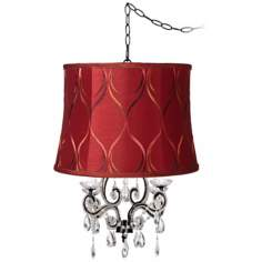 Leila Black Designer Merlot Shade Plug-In Swag Chandelier