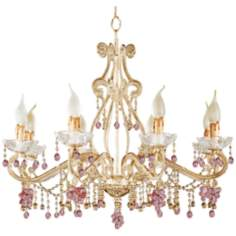 Parisian Rosa Crystals Eight Light Chandelier