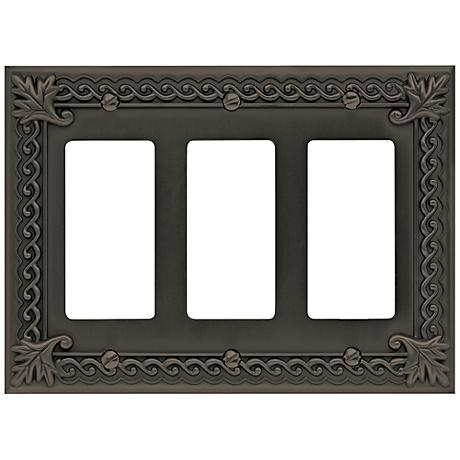 Venetian Collection Aged Bronze Triple Rocker Wall Plate