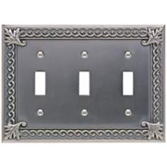 Venetian Collection Pewter Triple Toggle Wall Plate