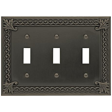Venetian Collection Aged Bronze Triple Toggle Wall Plate