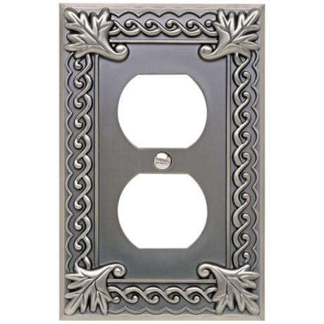 Venetian Collection Pewter Double Outlet Wall Plate
