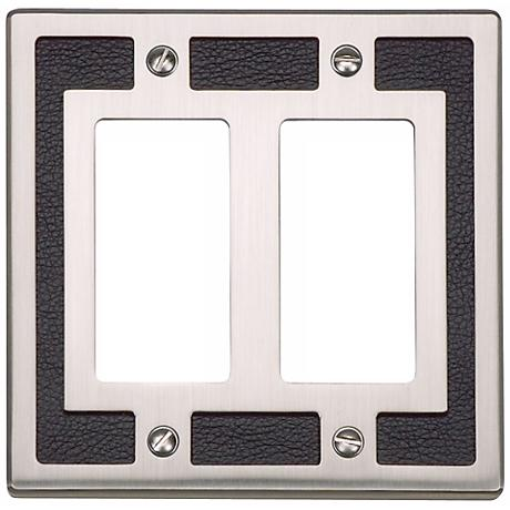 Zanzibar Leather and Brushed Nickel Double Rocker Wall Plate