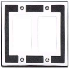 Zanzibar Leather and Chrome Double Rocker Wall Plate