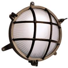 "Bulkhead 8 1/4"" Wide Brass Round Outdoor Wall Light"