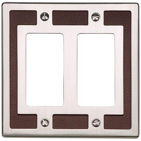 Zanzibar Brown Leather and Nickel Double Rocker Wall Plate