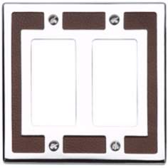 Zanzibar Brown Leather and Chrome Double Rocker Wall Plate
