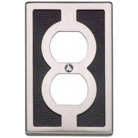 Zanzibar Leather and Brushed Nickel Outlet Wall Plate