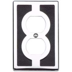 Zanzibar Black Leather and Chrome Outlet Wall Plate