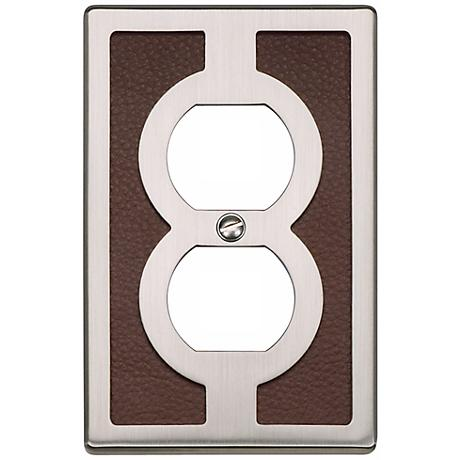 Zanzibar Brown Leather and Brushed Nickel Outlet Wall Plate