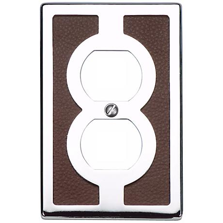 Zanzibar Brown Leather and Chrome Outlet Wall Plate