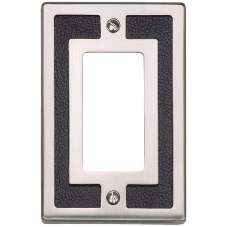 Zanzibar Black Leather and Brushed Nickel Rocker Wall Plate