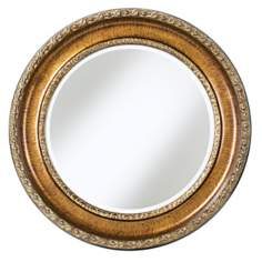 "Antique Gold Flower 33"" Wide Wall Mirror"