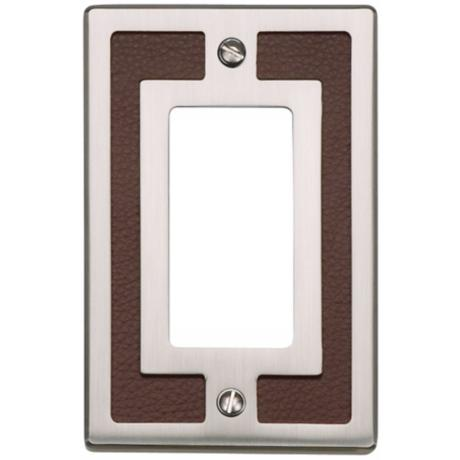 Zanzibar Brown Leather and Brushed Nickel Rocker Wall Plate